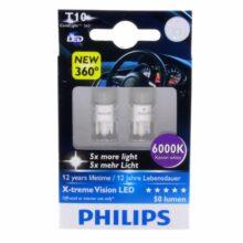 لامپ LED فیلیپس T10 پایه آریایی ۶۰۰۰K – W5W